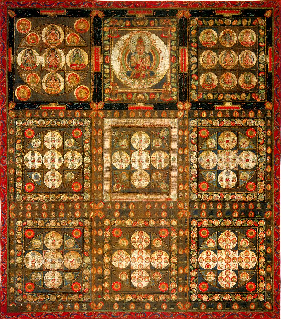 The Kongōkai Mandala, consisting of nine panels, three by three. Eight of them are  showing five seated Buddha-like figures arranges in a cross, within a circle. The middle panel in the top row shows a single larger seated Buddha-like figure.
