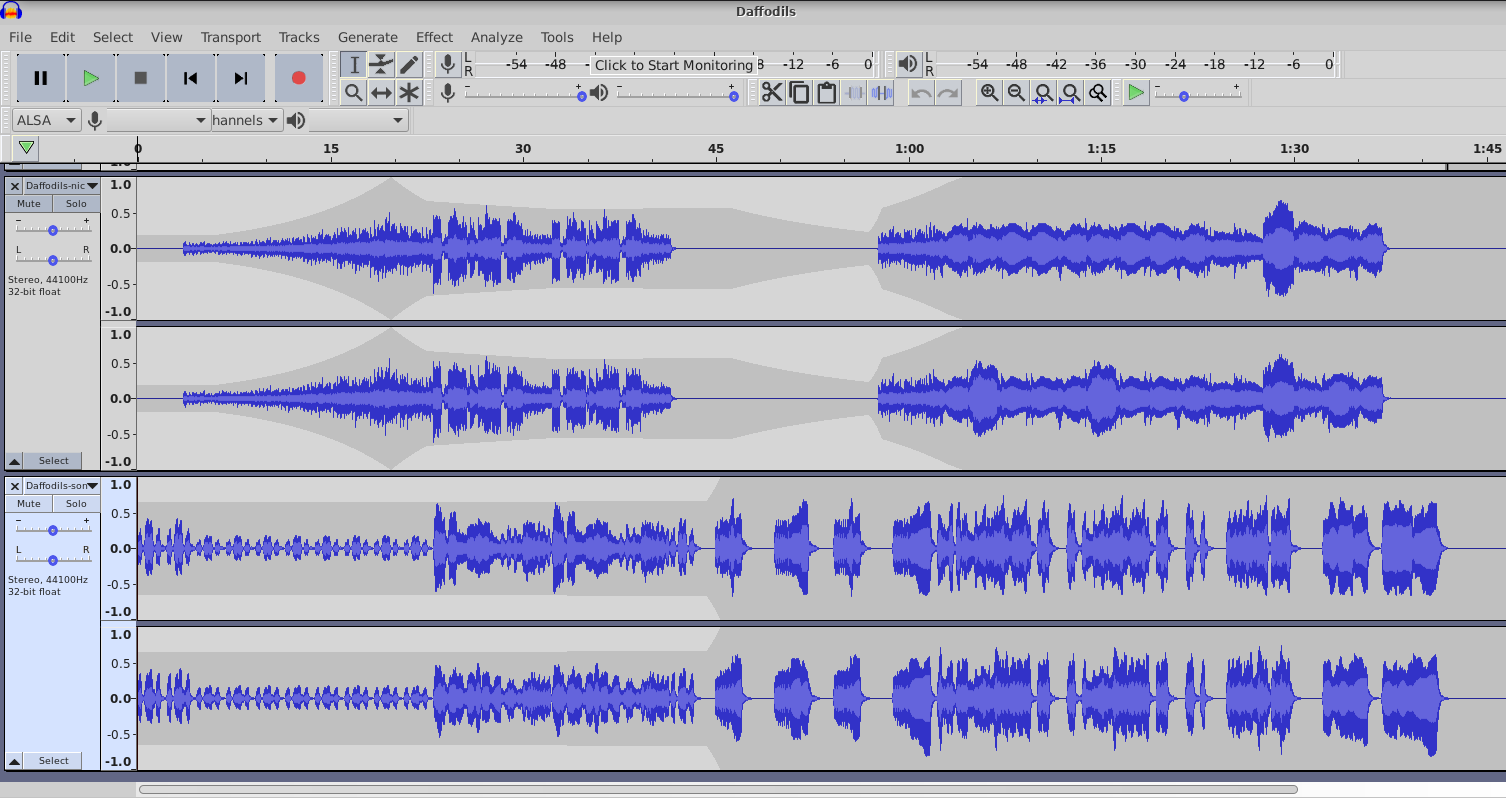Audacity UI for the Envelope Tool.