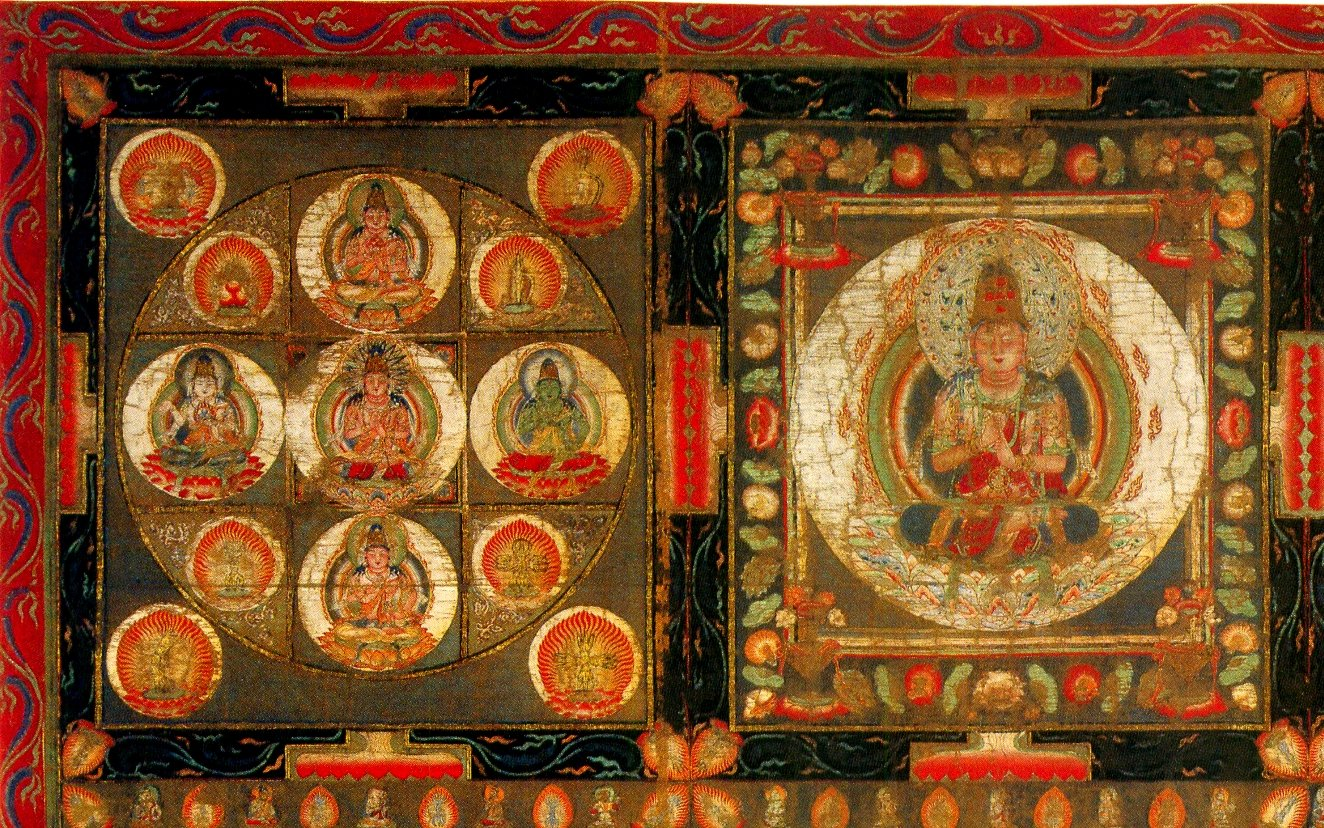 Detail of the Kongōkai Mandala showing five seated Buddha-like figures arranges in a cross, within a circle