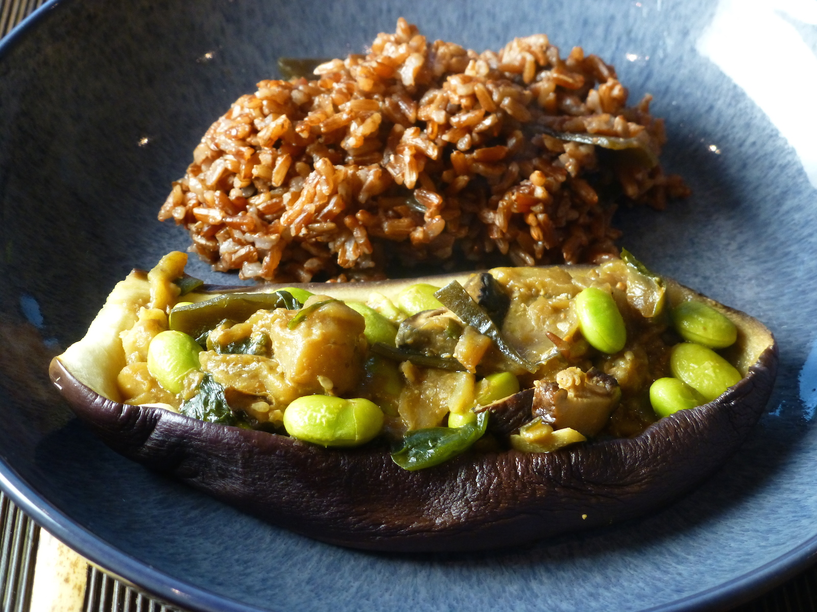 Murakami meal #3: Aubergine boats with soy beans and ginger served with red rice