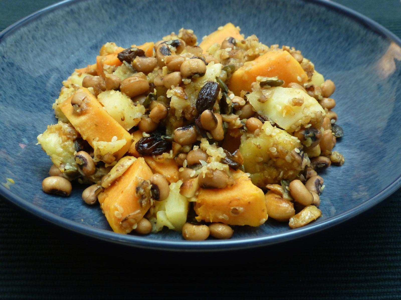 Bananas, black-eyed beans, sweet potatoes and parsnips