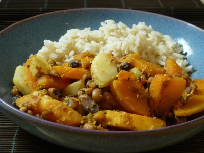Butternut squash, pear and black-eyed bean stir-fry with brown rice