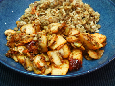 Celeriac and mushrooms with lentils and rice