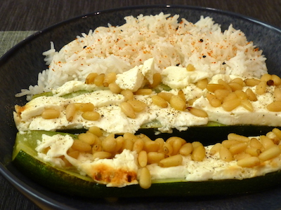 Courgettes with feta and pine kernels, served with basmati rice