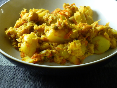 Curry of potatoes, parsnips and chickpeas