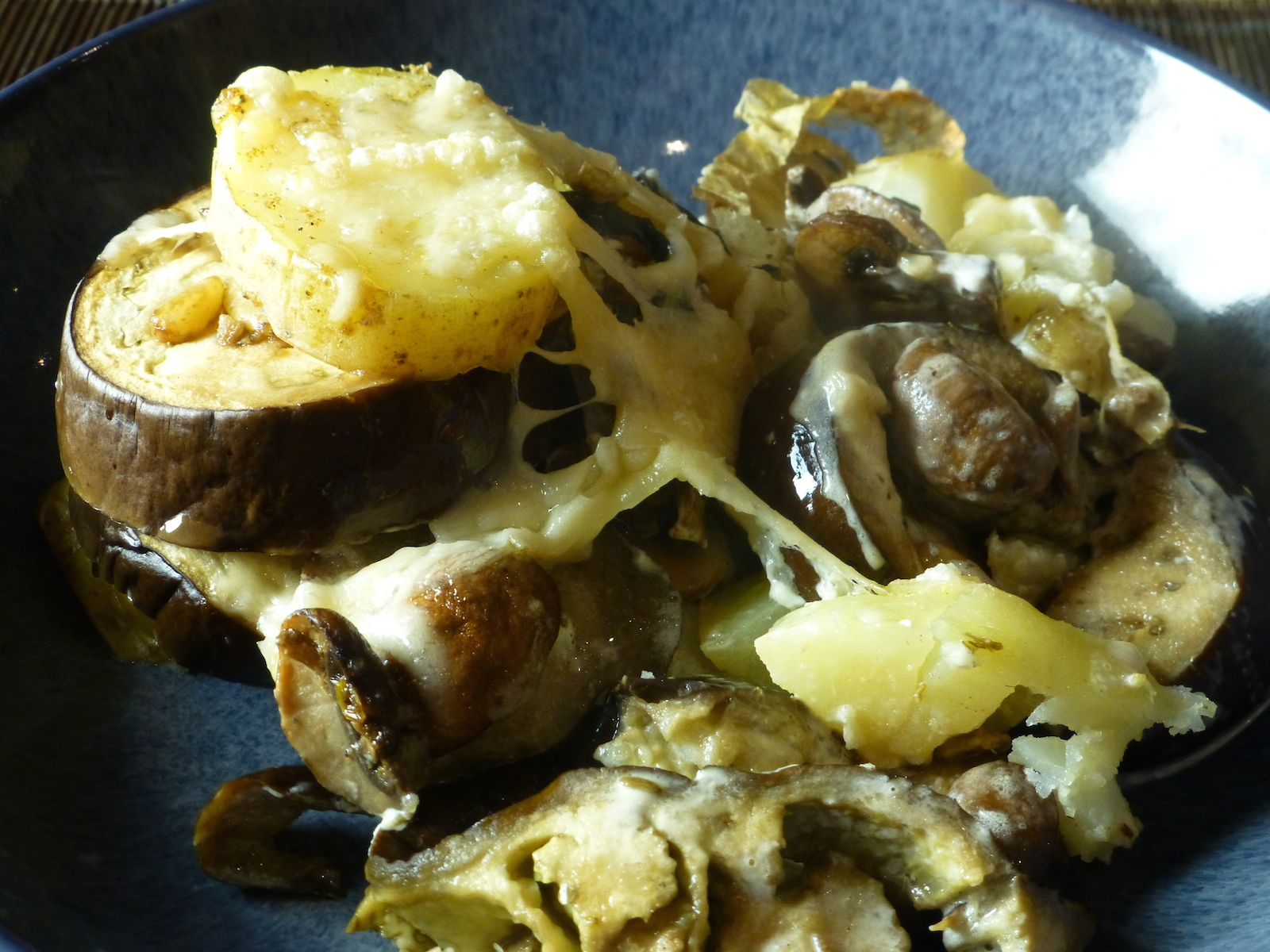 Festive bake with aubergines, mushrooms and cream