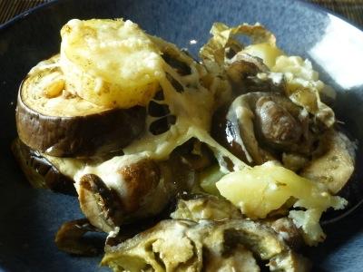Festive bake with aubergines, mushrooms and cream