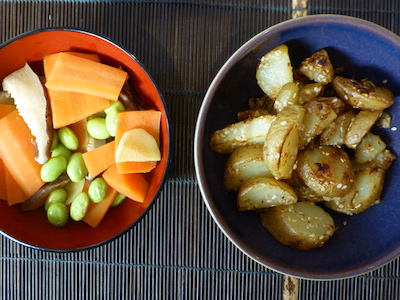 Murakami meal #4: Stir-fried potatoes with carrots and soy beans