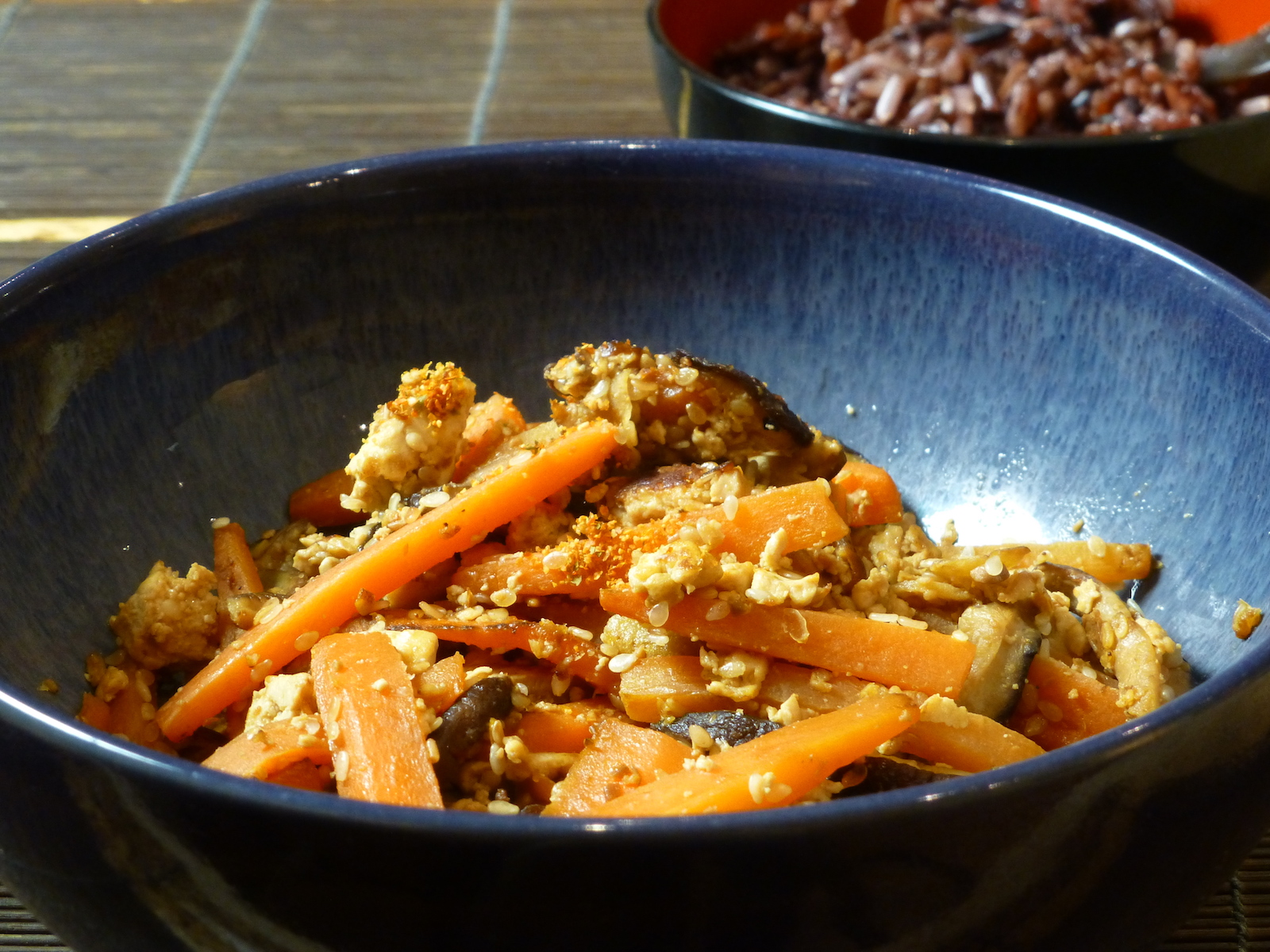 Iridofu with carrots and shiitake