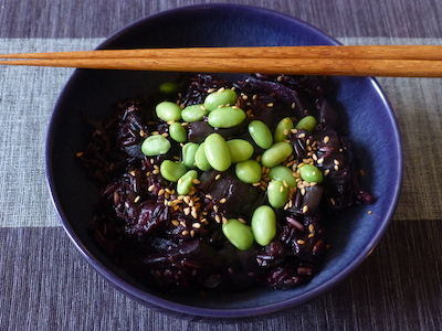 Japanese-style risotto of black rice, mixed mushrooms and aubergines