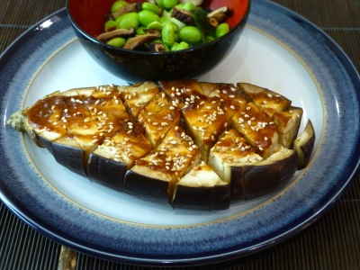 Miso-glazed aubergines with soy beans and rice