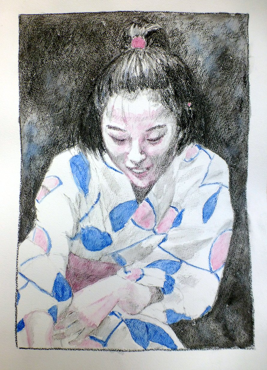 Drawing of a young Japanese girl in a yukata with stylised motif of stalks with large leaves, tinted with blue and dark pink watercolour. The person is crouching and looking down at something in front of her. Her hair is tied up on top with a pink hairband. The legs are not visible.
