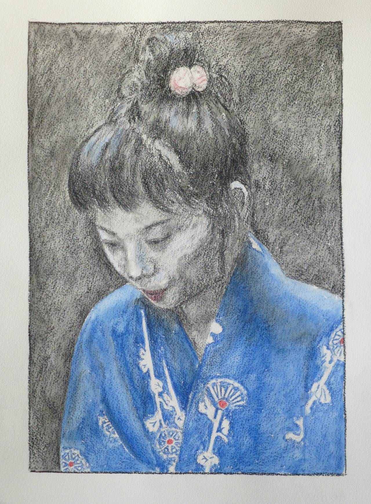 Drawing of a torso at a three-quarters angle of a young Japanese girl in a yukata with stylised motif of flowers. The yukata is tinted blue with watercolour, the flowers are white with a pink accent. The person is looking down at something in front of her. Her hair is tied up on top with a hair elastic with two white ponpons with some pink. The background is dark.