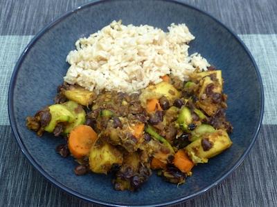 Parsnips, bananas, adzuki beans and rice