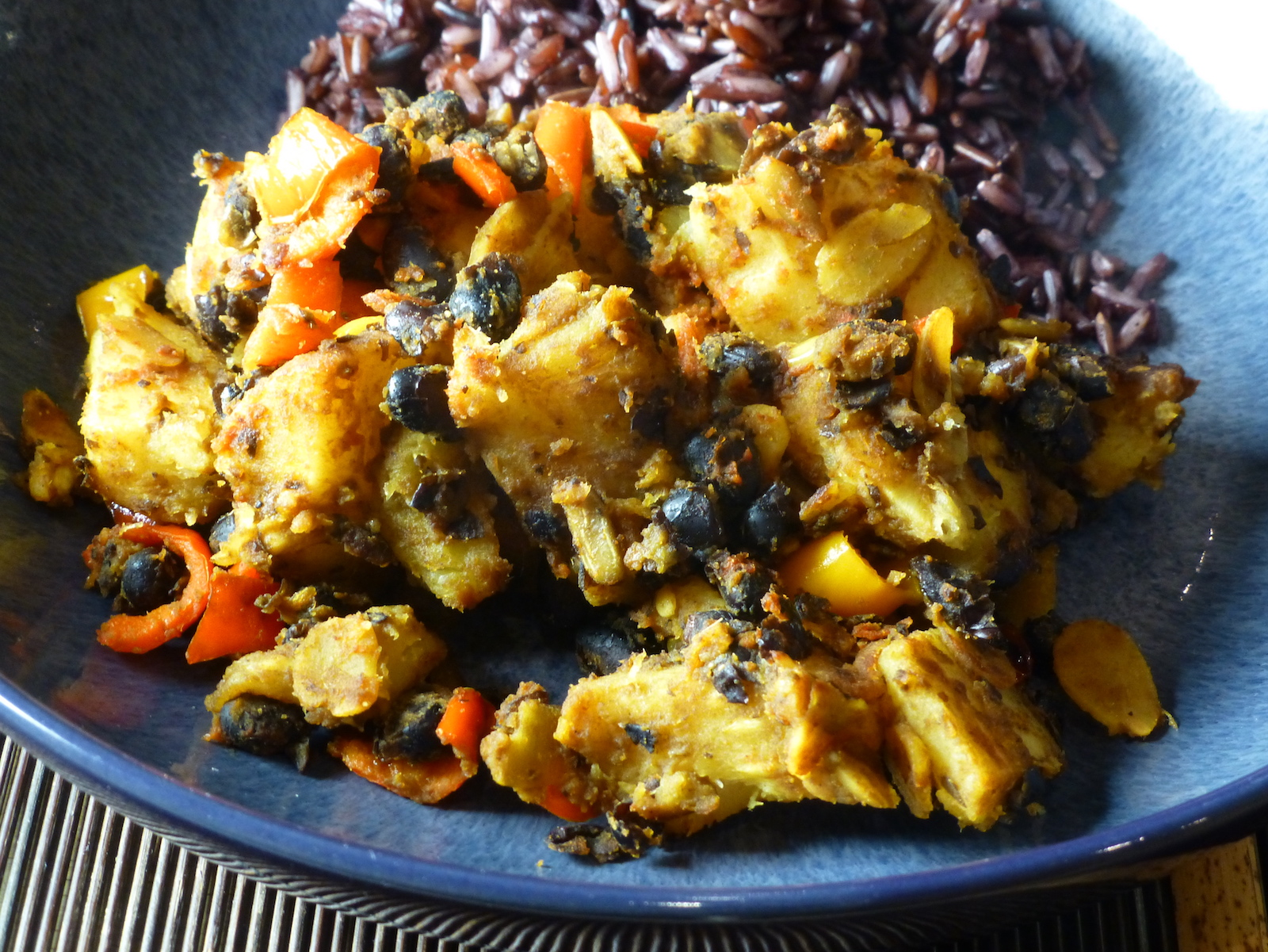 Parsnips, peppers and black beans with rice