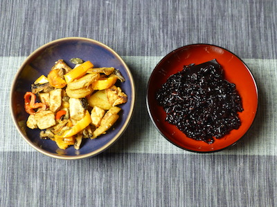 Peppers, tofu, potatoes and black rice