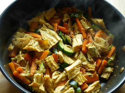 Stir fry of carrots, courgettes and tofu sticks