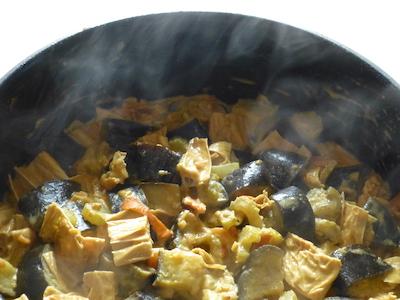 Aubergines and tofu sticks in Filipino-style creamy sauce