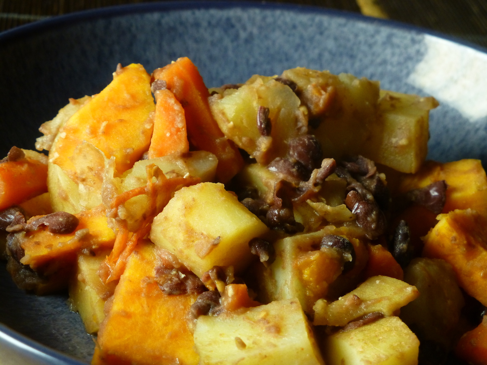Simple winter hotpot with root vegetables and adzuki beans